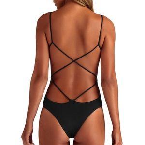 VITAMIN A Lilli Bodysuit Black One Piece Swimsuit